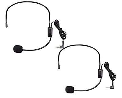 YCNK 2 Pack 3.5mm Jack Headset Microphone for Belt Pack Mic Systems