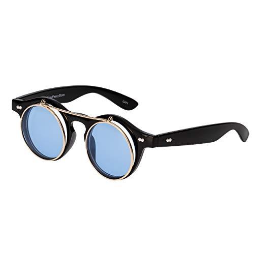 Ultra® Schwarze Blaue Rahmen mit Aqua-Rahmen Flip Up Kreis Premium Qualität Steampunk Brille Retro Frauen Männer Runde Rave Gothic Vintage Niet Viktorianischen Cyber Welding Cosplay UV400 Sonnenbrille