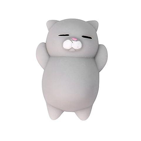 Jushwa Mini Squishy mignon chat mochi squeeze amusant Jouet stress soulagement (A)