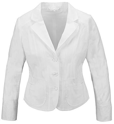 Rock Creek Designer Damen Leinen Blazer Business Jacke Leinenblazer Damenblazer Sakko Damenjacke Übergangsjacke Sommerjacke D-420 Weiß 44