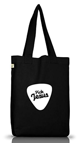 Shirtstreet24, Pick Jesus, christlicher Jutebeutel Stoff Tasche Earth Positive (ONE SIZE) Black