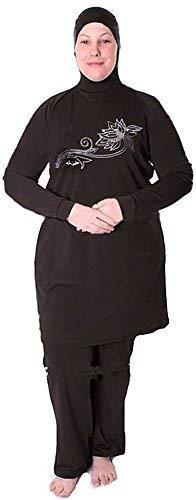 Zurückhaltende Damen-Bademode für ganzen Körper, islamischer Badeanzug für Frauen, Burkini, Gesamtbedeckung–schwarz Gr. L, schwarz