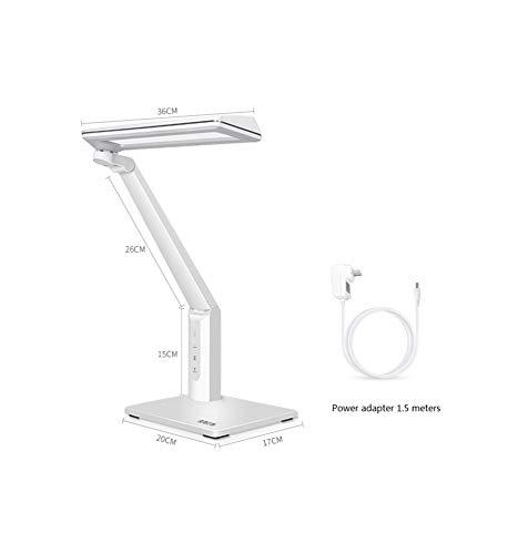 WFL LED-Nachttischlampe, Augenschutz-Anti-Blau-Tischlampe, Touch-Schreibtischlampe, 6-Fach-Dimmung, 3, USB-Aufladung, freie Rotation Null/Weiß -
