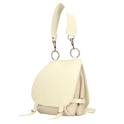 Chicca Borse Borsa a tracolla in pelle 25x27x10 100% Genuine Leather Beige
