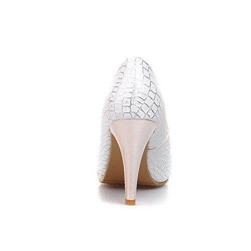 VogueZone009 Donna Tirare Scarpe A Punta Punta Chiusa Tacco A Spillo Luccichio Colore Assortito Ballerine Bianco