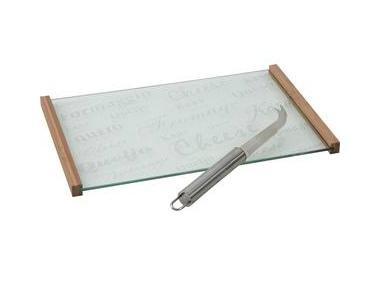 Plateau à fromages en verre avec couteau