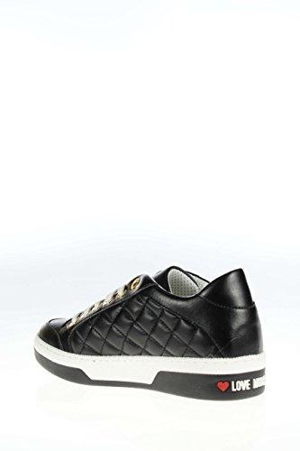 Love Moschino Donna Sneaker A15043G11 IBO 000 Sneaker in pelle con logo Nero