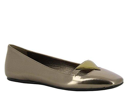 Ballerines Prada pour femme en cuir lamé bronze - Code modèle: 1F355F 8QB F0RCS07 Bronze