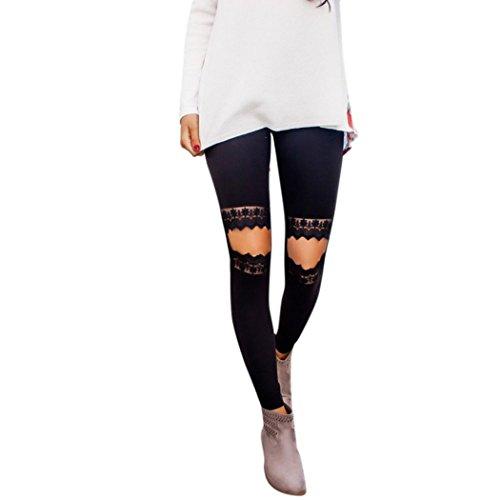 [Femmes Leggings] Dentelle Yoga Fitness Hole Leggings Courir Gym Stretch Pantalon de Sport Pantalon Noir