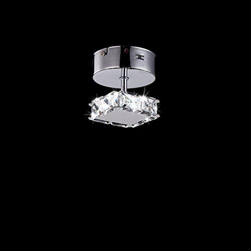 Modeen Crystal Glass Droplets Lámpara de techo Lámpara de techo de cristal de acero inoxidable para el comedor Dormitorio Sala Corredor Corredor ( Size : Square )