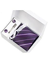 Coffret Cadeau Nassau - Cravate violet aubergine à rayures violettes, blanches et parme, boutons de manchette, pince à cravate, pochette de costume