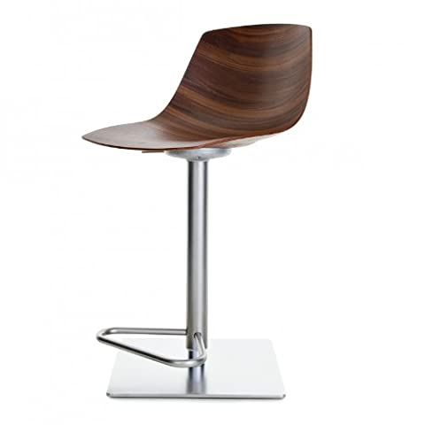 Miunn Bar Stool Stainless Steel Frame Square walnut Canaletto/frame stainless