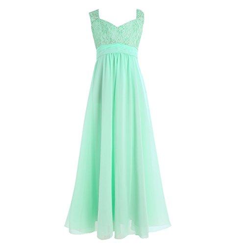YiZYiF Mädchen Kinder Kleider Festlich Lang Brautjungfern Kleid Prinzessin Hochzeit Party Kleid Chiffon Festzug Gr. 104-164 Türkis 164