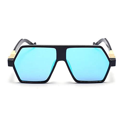 Retro Vintage Sonnenbrille, für Frauen und Männer Einzigartige unregelmäßige UV-Schutz Sonnenbrille for Frauen Männer im Freien Fahren Urlaub Sommer Strand UV-Schutz (Farbe : Blau)