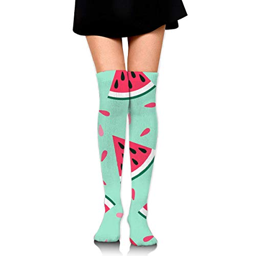 Sweet Feet-muster (Sweet Summer Fruit with A Lovely Watermelon Design Compression Socken Foot Long Stockings Knee High Socken for Men Women Supports Sport Running Cycling Football Slim Leg Travel Medical Nursing)