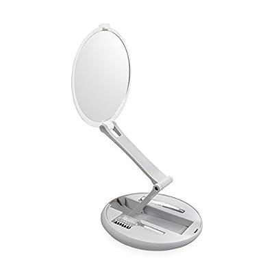Faltbarer Silk´n Kosmetikspiegel 4 in 1 mit Augenbrauenbürste, Wimpernbürste und Augenbrauen-Pinzette mit schräger Spitze, Schminkspiegel, Make Up Spiegel für unterwegs