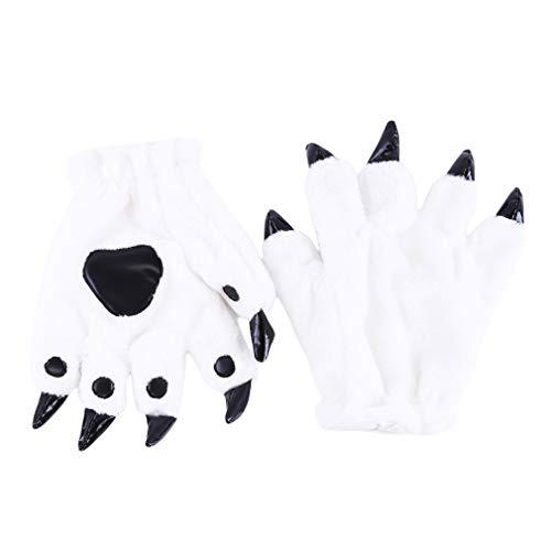 LnLyin Tierklaue Handschuhe, Warm Cute Cartoon Handschuhe Warme Plüsch Kostüm Party Handschuhe für Frauen Männer, Weiß