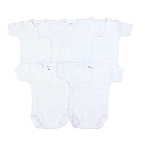 *TupTam Unisex Baby Kurzarm Wickelbody Baumwolle 5er Pack, Farbe: Weiß, Größe: 62*