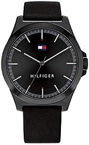 ساعة جلد سوداء للرجال ذات مينا سوداء من تومي هيلفجر- 1791715
