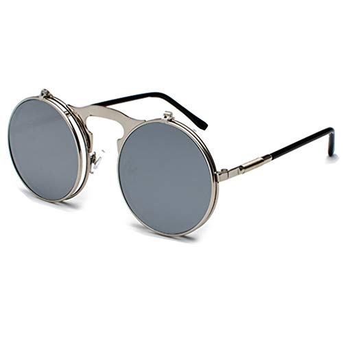 WEIMEITE Flip Up Sonnenbrillen Classic Steampunk Männer Frauen Sonnenbrillen Metall Vintage Brille UV400