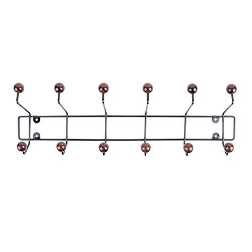 Preisvergleich Produktbild Present Time PT2954 Garderobe / Kleiderhaken - SATURNUS - Metall - schwarz / braun - 12 Haken - 53, 5 x 15 x 14 cm