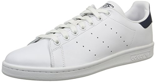 adidas Stan Smith, Scarpe Basse Unisex Adulto, Bianco (Running White/Running White/New Navy), 44