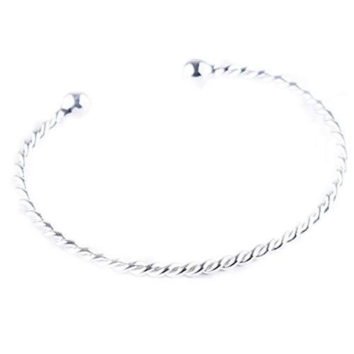 JunBo Mode Sterling Silber Twist Armband einfaches Drehen Blume Armreif