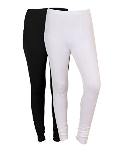 Indistar Women\'s Cotton Chudidar and Lycra Leggings (Black and White, 7300973010-IW-P2) - Pack of 2