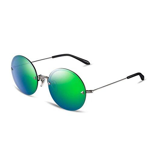 SHULING Sonnenbrille Das Mädchen, Kreis, Nicht-Polarisierten Sonnenbrillen Sonnenbrillen Mode Brille Silber Box/Gras Grün Chip