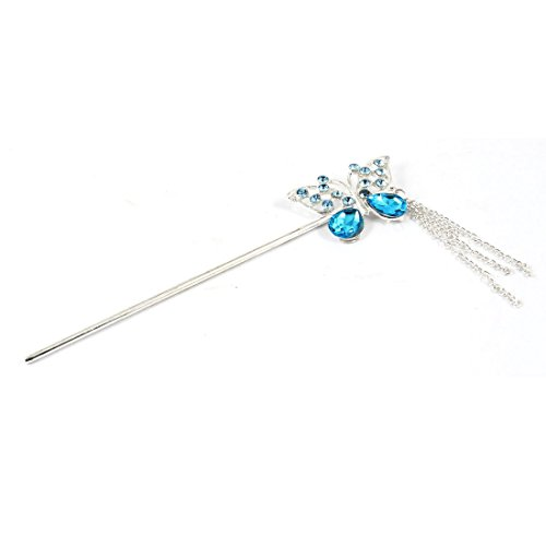 Lady Teal Blau Strass eingelegten Akzent Metall-Schmetterlings-Form-Haar-Pin -