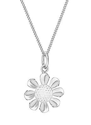 Tuscany Silver Sterling Silver Daisy Pendant on Curb Chain of 46cm/18""
