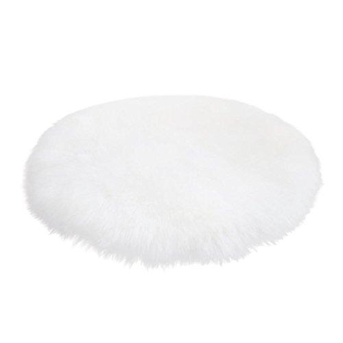 Weiße Blumen Bereich Teppich (tianranrt Weich gemütlichen künstlichen Schaffell Teppich Stuhlhusse Wolle warm Hairy Teppich Sitz Schlafzimmer Boden Sofa Home Decor, weiß, diameter 45 CM)
