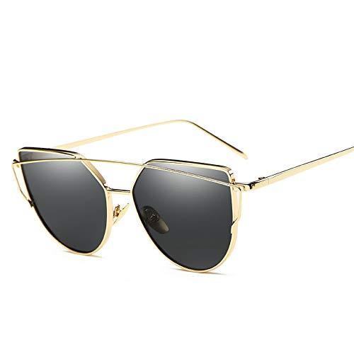 YUHANGH Mode Sonnenbrillen Frauen Cat Eye Damen Metallrahmen Spiegel Sonnenbrille Goldlinse Eyewear Frau