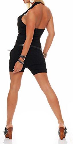 malito kurzer Jumpsuit mit Gürtel Neckholder 8965 Damen One Size Schwarz