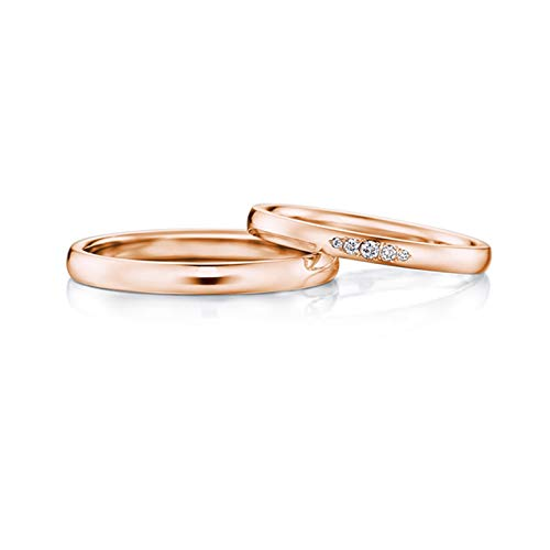 Epinki Anillo Oro Rosa 18k Simple Pulido Diamante