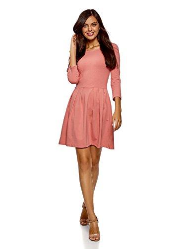 oodji Ultra Damen Tailliertes Jersey-Kleid, Rosa, DE 42 / EU 44 / XL