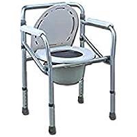 GIMA ref 27759 Silla para WC o inodoro para minusválidos, ancianos y discapacitados, con altura regulable 45-55 cm (detrás 78-88 cm) plegable, cómoda y segura