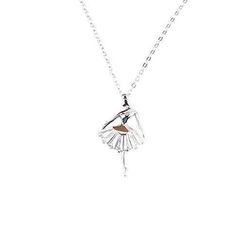 ChuangYing S925 Sterling Silber Micro Intarsien Zirkon Halskette Cute Engel Ballett Mädchen Halskette -