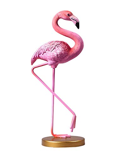 Amoy-Art Flamingo Skulptur Figur Statue Dekoration Geschenk Flamingo Tier Sculpture Figurine Home Decor Handgemalt Polyresin 25cmH - Flamingo-statue