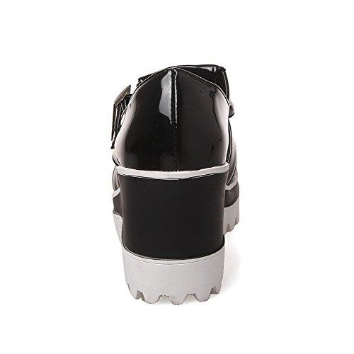 VogueZone009 Femme Rond Couleur Unie à Talon Haut Tire Chaussures Légeres Noir