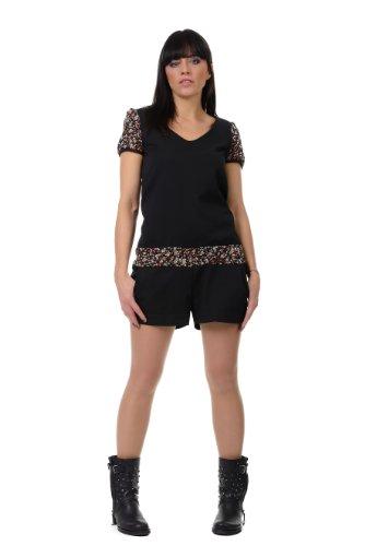 Hosen Overall Damen / Jumpsuit kurzarm / cooler Designer Hosen Anzug von 3Elfen, Sommer Mode - rot Blümchen 40 Designer Damen Jumpsuits