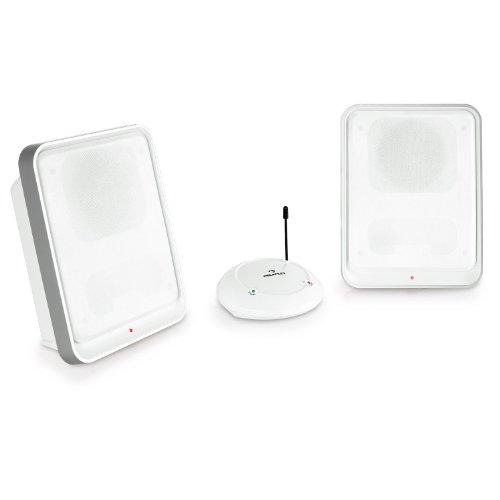 Auna Loft 30 Coppia Casse altoparlanti wireless attive UHF (100 metri, UHF, volume regolabile su ciascun altoparlante, cavi ed alimentatore inclusi, 2 canali di trasmissione) Bianco