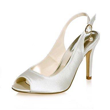 Wuyulunbi@ Scarpe donna raso Primavera Estate della pompa base scarpe matrimonio Stiletto Heel Peep toe imitazione perla per il party di nozze & Sera viola Un