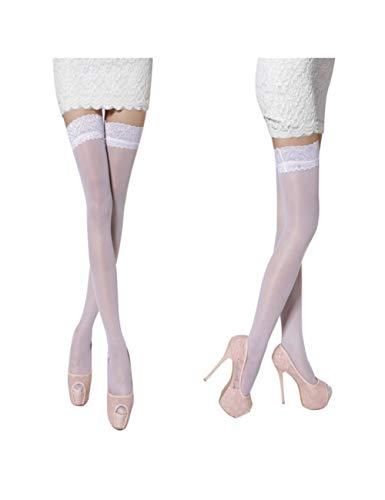 XHHH Damen Strümpfe/Strümpfe, Weiß, durchscheinend, Blumenstrümpfe für Oberschenkel hoch - 3