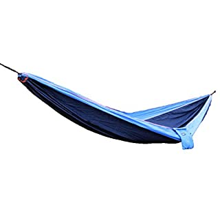 Portable Travel Double Camping Parachute Hammock made with Nylon Fabric (Navy and Turquoise)