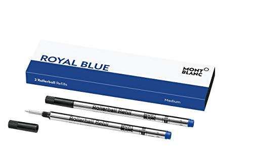 Montblanc Tintenroller Minen Royal Blue 124504 - Blaue Ersatzmine für Montblanc Roller Ball und Fineliner Größe M - 2 x Montblanc Refill Rollerball M