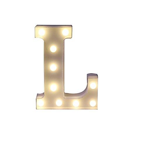 Mystery&Melody LED Alphabet Licht Brief Dekorative Lampe Licht LED Alphabet Weiß Feste Buchstaben für Party Hochzeit Dekoration Licht (L) (Dekorative Buchstaben L)