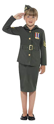 Smiffys Kinder WW2 Armee Girl Kostüm, Jacke, Rock, angesetzter Gürtel und Mütze, Größe: L, 41104