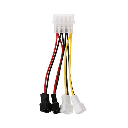 JENOR IDE Molex 4-polig auf 4-Fach 3-polig TX3 Gehäuse Lüfter Netzteil Konverter Kabel