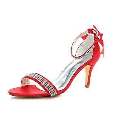 BEST 4U 'Damen-Schuhe, Satin, Sommer, PUMPS mit Stiletto Schuhe Stiefel mit Spitze Kristall Bowknot für Partei Abend Kleid, Rot, rot, us9.5-10/eu41/uk7.5-8/cn42